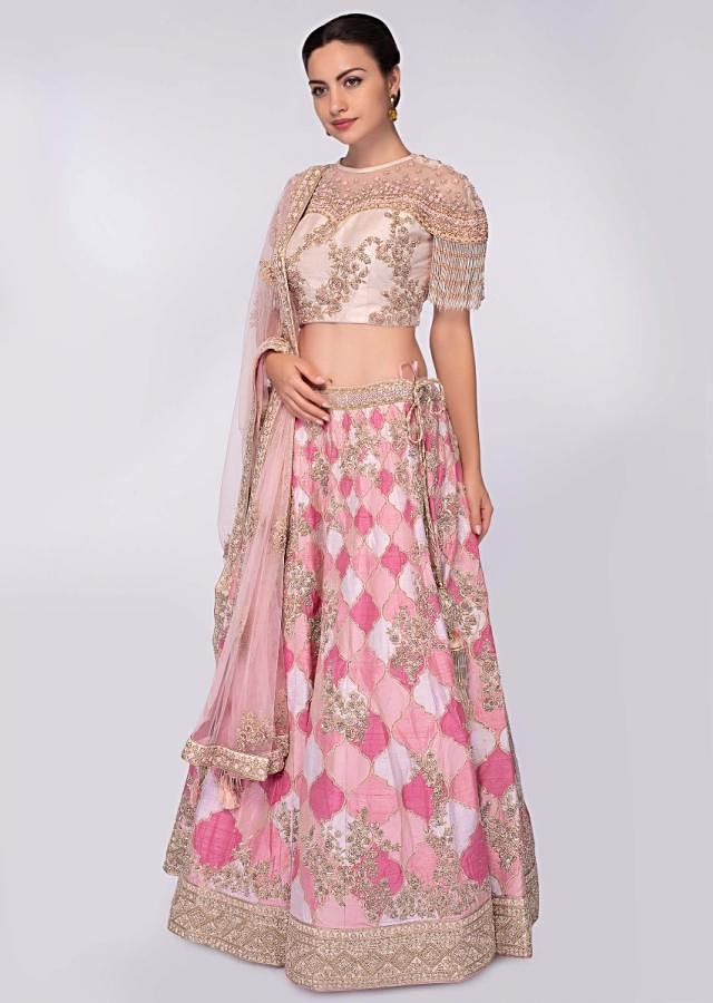 Pink And White Lehenga In Raw Silk Paired With Light Champagne Embroidered Net Blouse Online - Kalki Fashion
