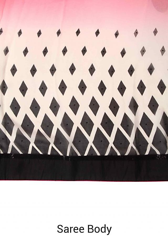 Pink and white shaded saree in argyle print only on Kalki