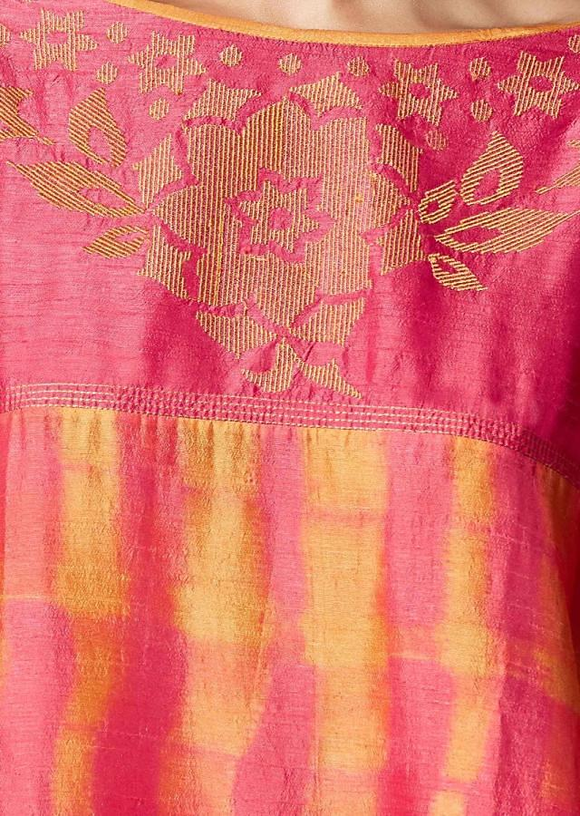 Pink And Yellow Shaded Top In Cotton Silk With Thread Embroidered Yoke