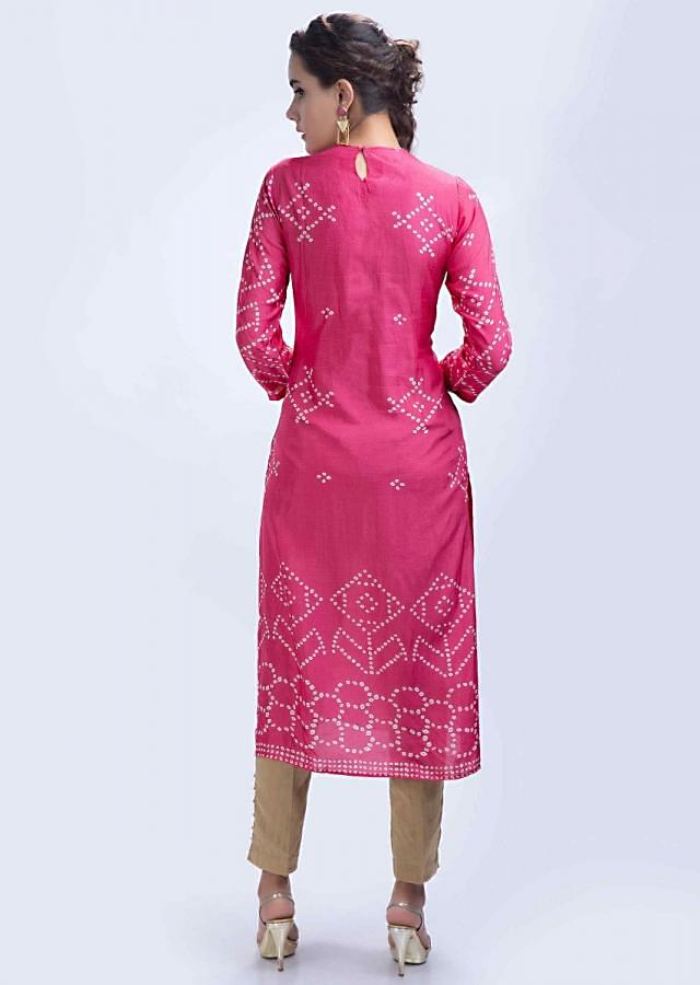 Pink bandhani printed straight kurti with center panel embroidery only on Kalki