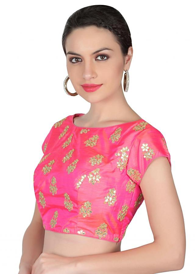 Pink blouse adorn in gotta patch work only on Kalki