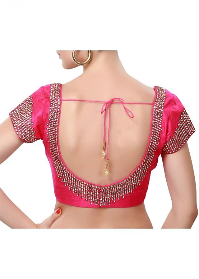Pink blouse adorn in kundan and zardosi embroidery only on Kalki