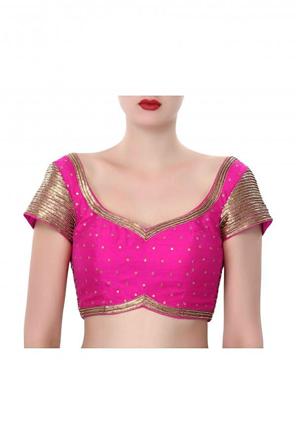 Pink blouse adorn in sequin embroidery only on Kalki