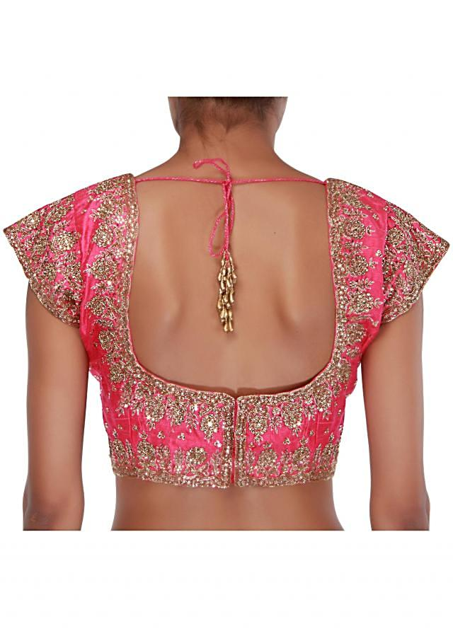 Pink blouse embellished in stone and kardana only on Kalki