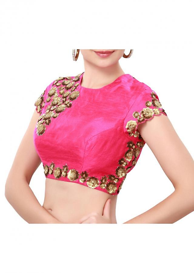 Pink blouse enhanced in sequin embroidery only on Kalki