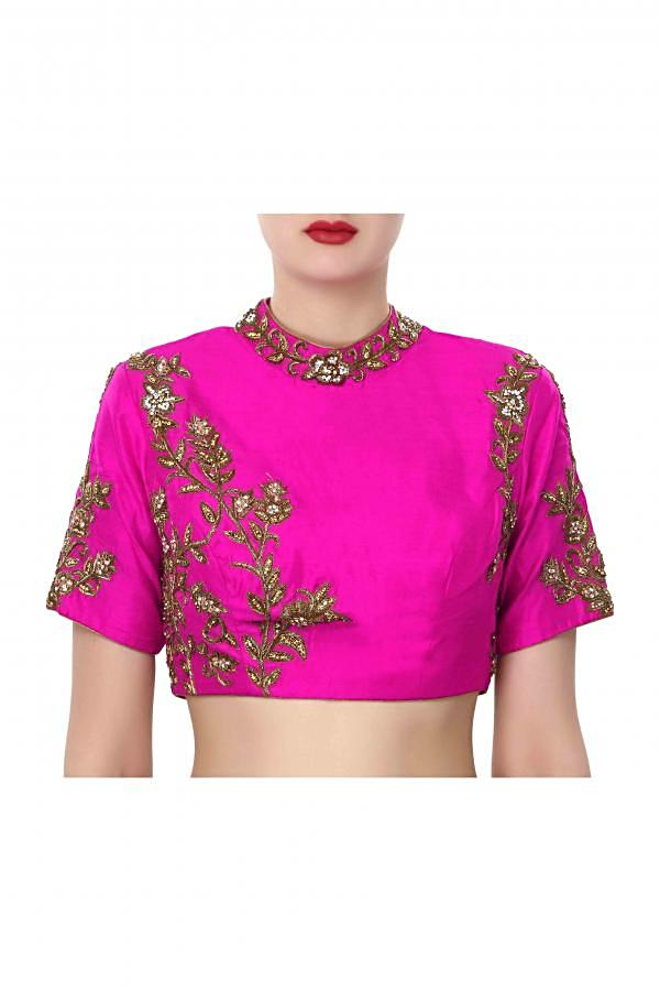 Pink blouse features with embroidered collar only on Kalki