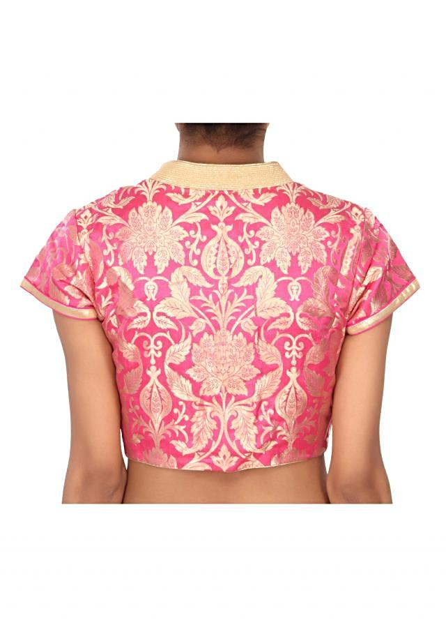 Pink blouse highlighted in gold collar only on Kalki