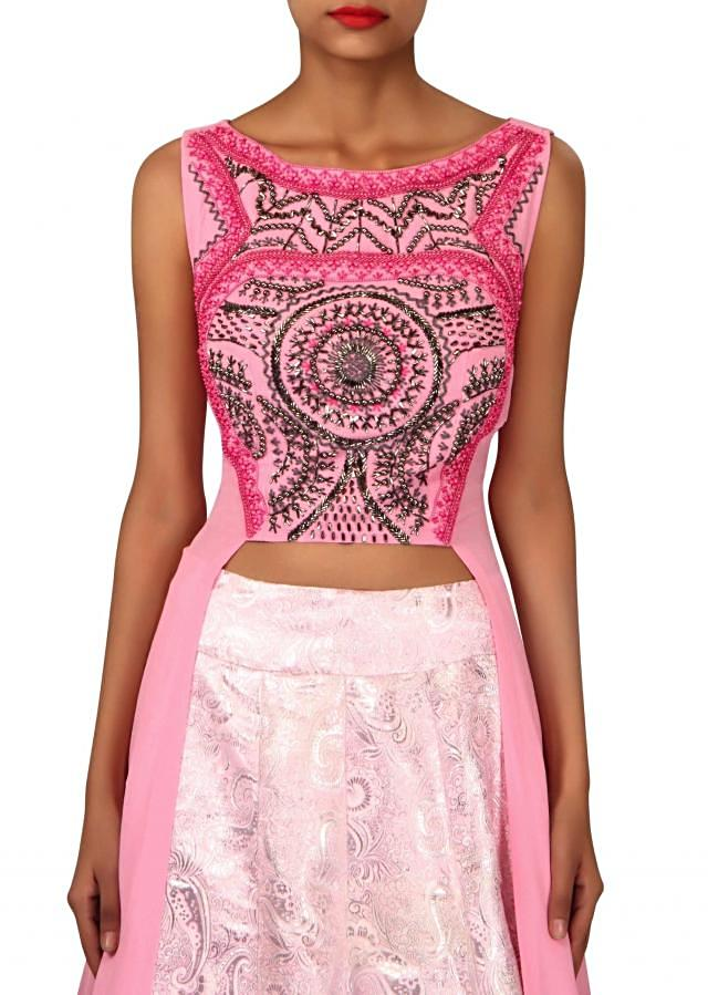Pink brocade lehenga with long embroidered blouse only on Kalki