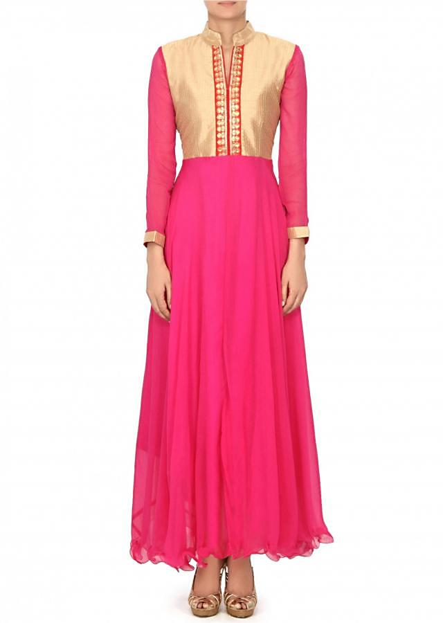 Pink chiffon dress with embellished placket only on Kalki