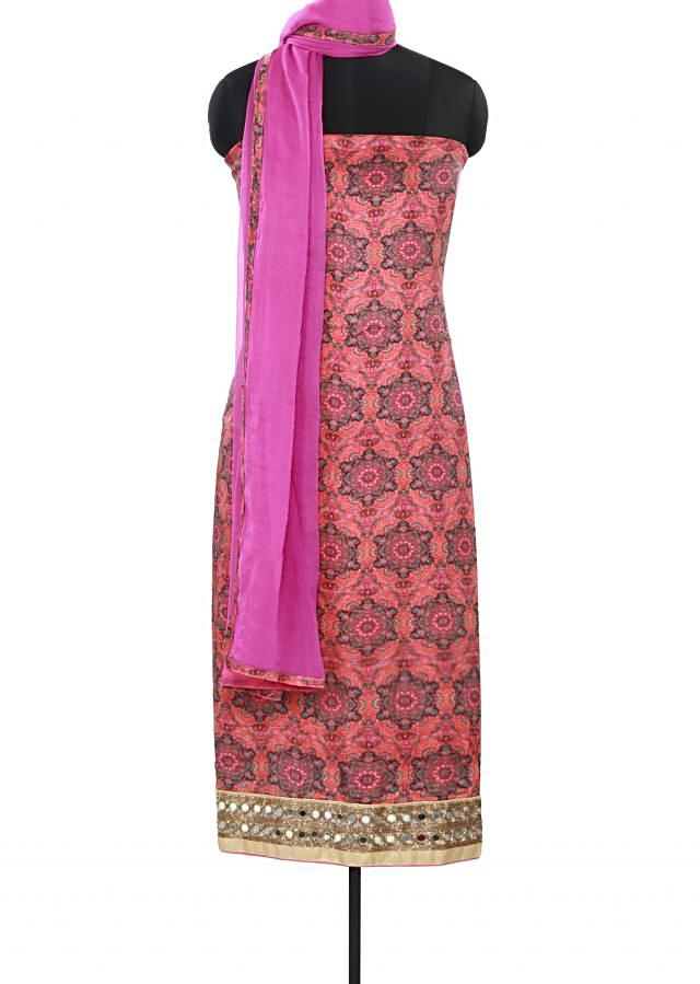 Pink color unstitched suit adorn in mirror and print only on Kalki