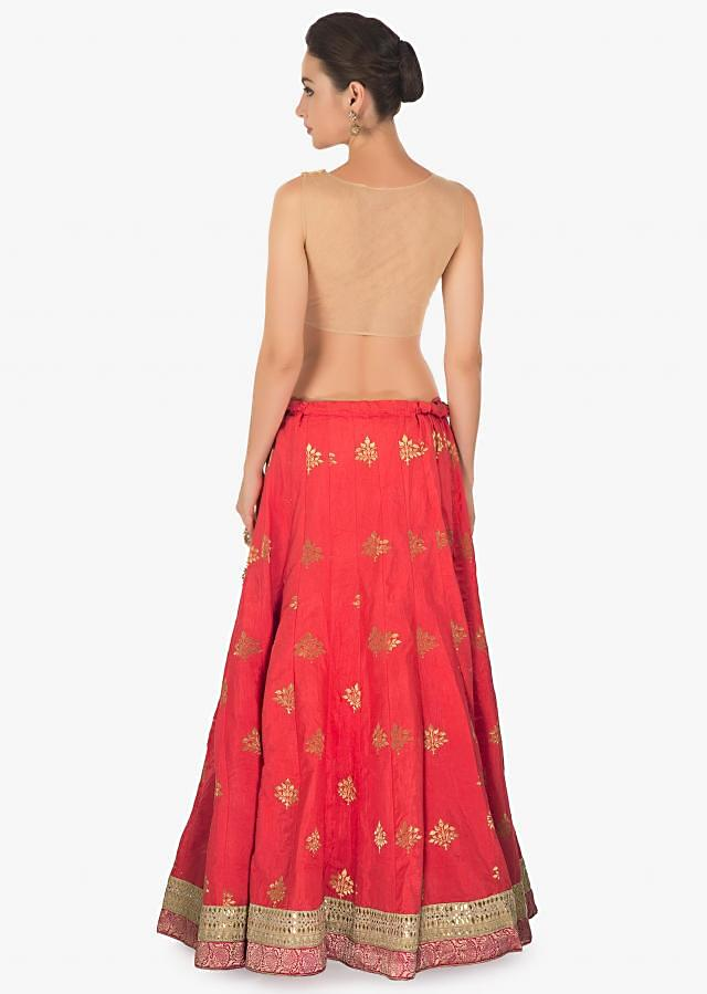 pink coral cotton silk lehenga with pink brocade dupatta only on Kalki
