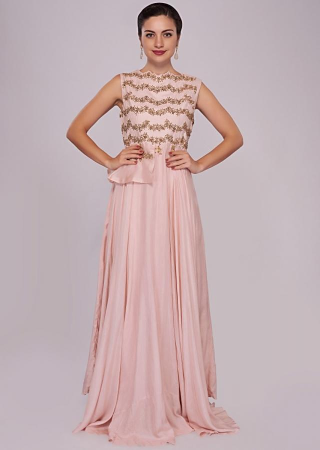 Pink cotton dress in peplum style adorn in zari and sequin embroidery only on Kalki