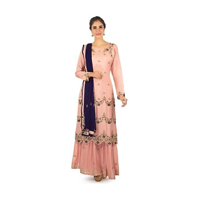 Pink cotton kurti embossed with French knot, zardosi and moti work only on Kalki