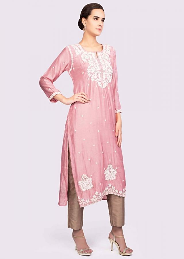 Pink Kurti In Cotton Silk Adorned With Thread Embroidery And Butti Online - Kalki Fashion