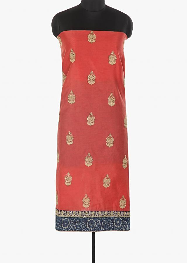 Pink cotton silk unstitched suit embellished in zari, sequin butti work only on Kalki