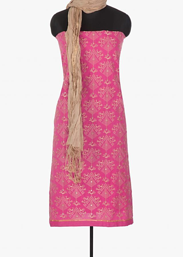 Pink cotton unstitched suit adorn with  thread work all over only on Kalki