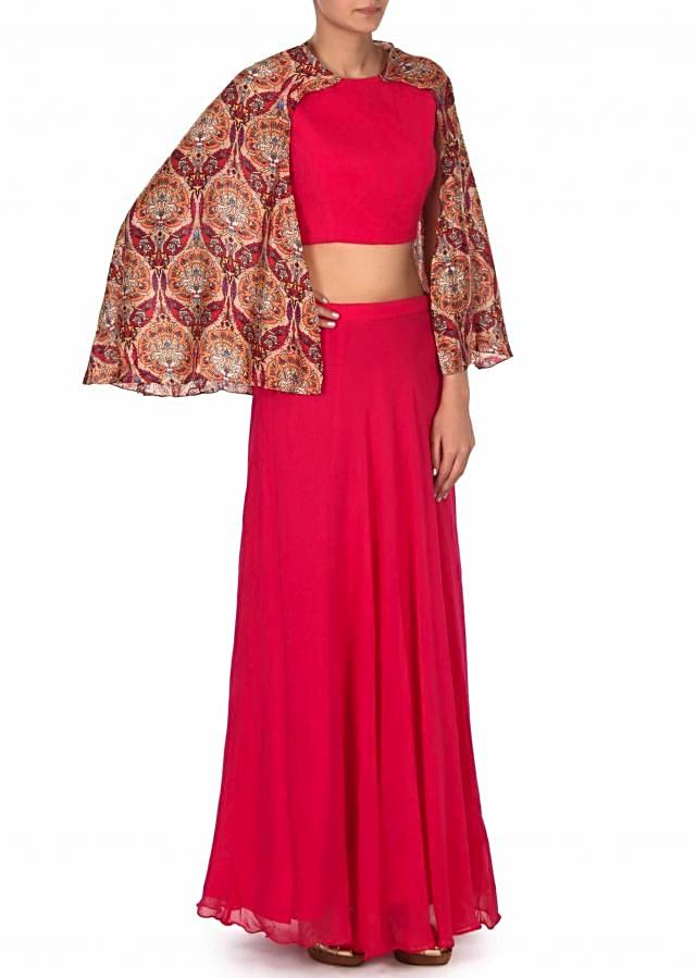 Pink crop top with attach printed cape only on Kalki
