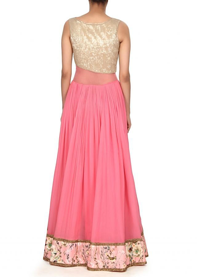 Pink dree embellished in sequin and floral print only on Kalki