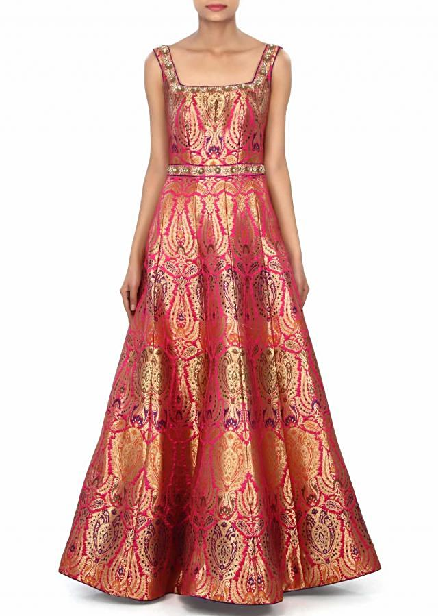 Pink dress featuring in brocade with sequin embroidery only on Kalki