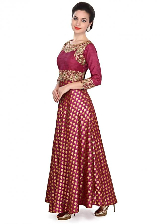 Pink dress featuring in zardosi embroidery only on Kalki