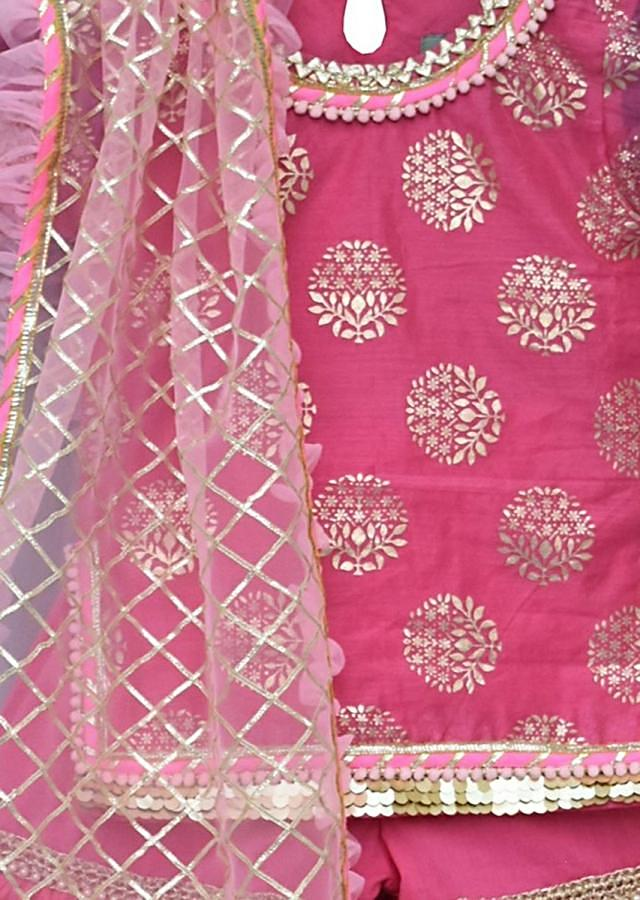Pink Kurti With Foil Print Paired With Sharara And Gotta Embroidered Dupatta Online - Kalki Fashion