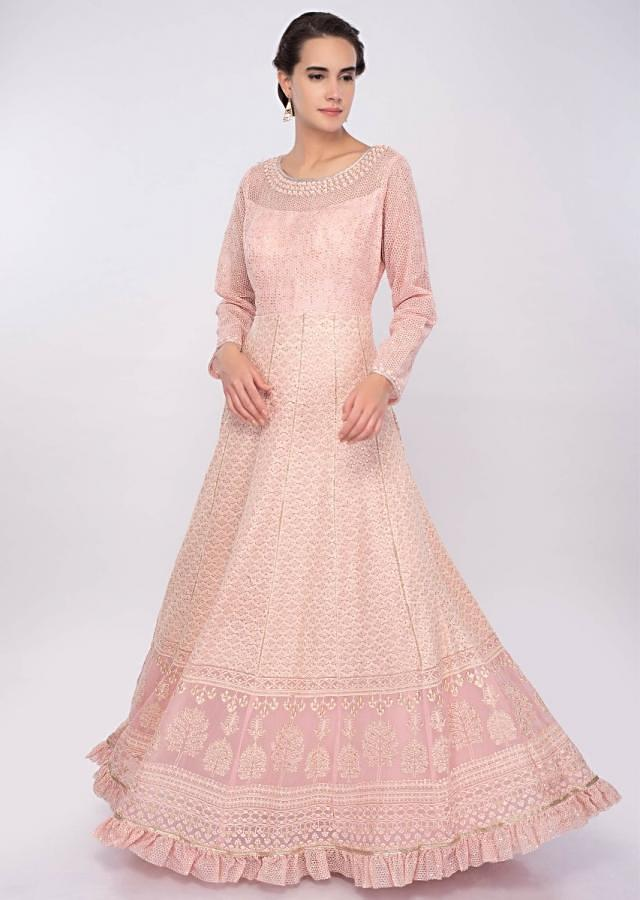 Pink Anarkali Dress In Georgette With Thread And Zari Embroidery Online - Kalki Fashion