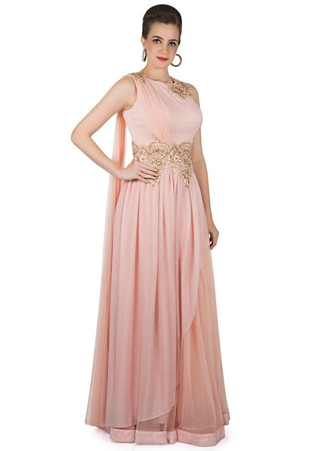 Pink Georgette and Net Gown Enhanced by Floral Motifs in Zardosi Only on Kalki