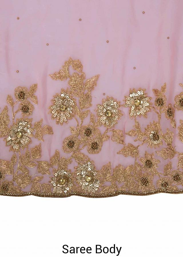 Pink Georgette Saree Embellished with Resham, Zardosi, Sequins, Cut Dana and Pearls only on Kalki
