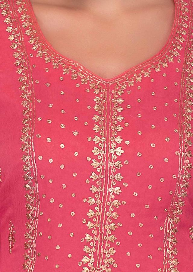 Pink Georgette Suit With Zari Embroidery In Center Panel And Side Butti Online - Kalki Fashion