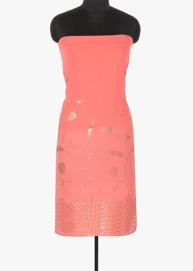 Pink georgette unstitched suit enhanced with foil sequin butti only on Kalki