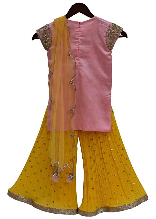 Pink Gota Embroidery Kurti with Yellow Sharara by Fayon Kids