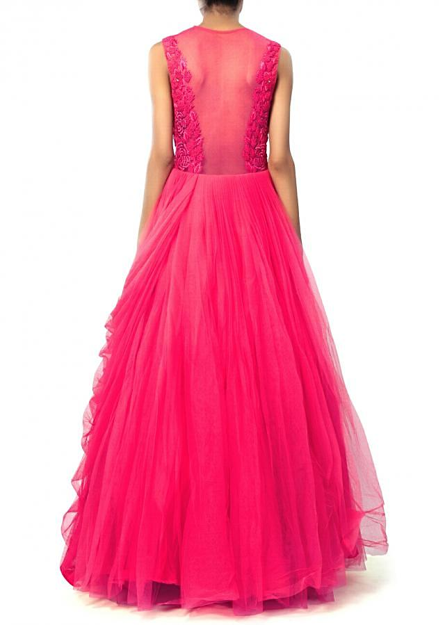 Pink gown adorn in French knot and cowl drape only on Kalki