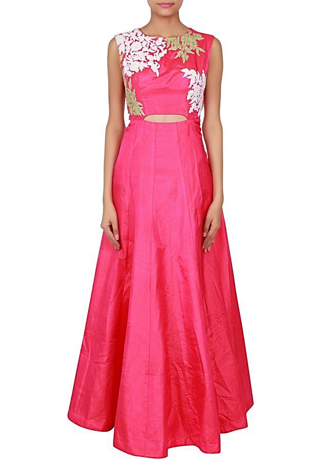 Pink gown adorn in thread and zari embroidery only on Kalki