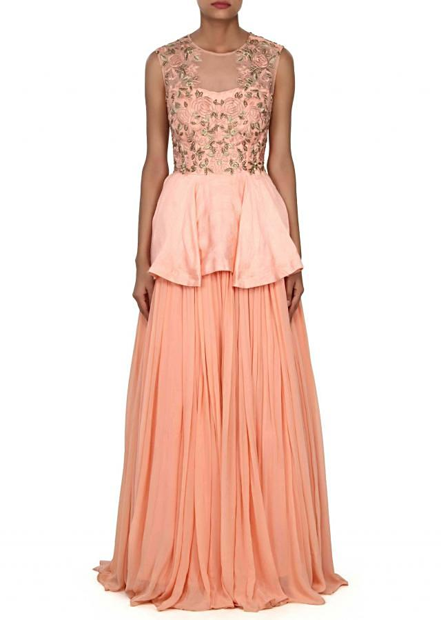 Pink gown adorn in zardosi and frills only on Kalki