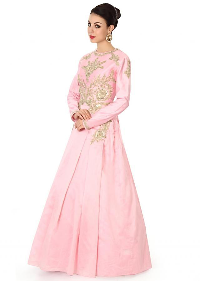 Pink gown adorn in zari and box pleats only on Kalki