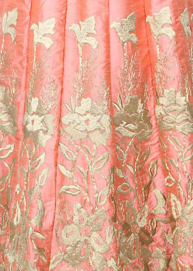 Pink gown embellished in kardana and zari embroidery only on Kalki
