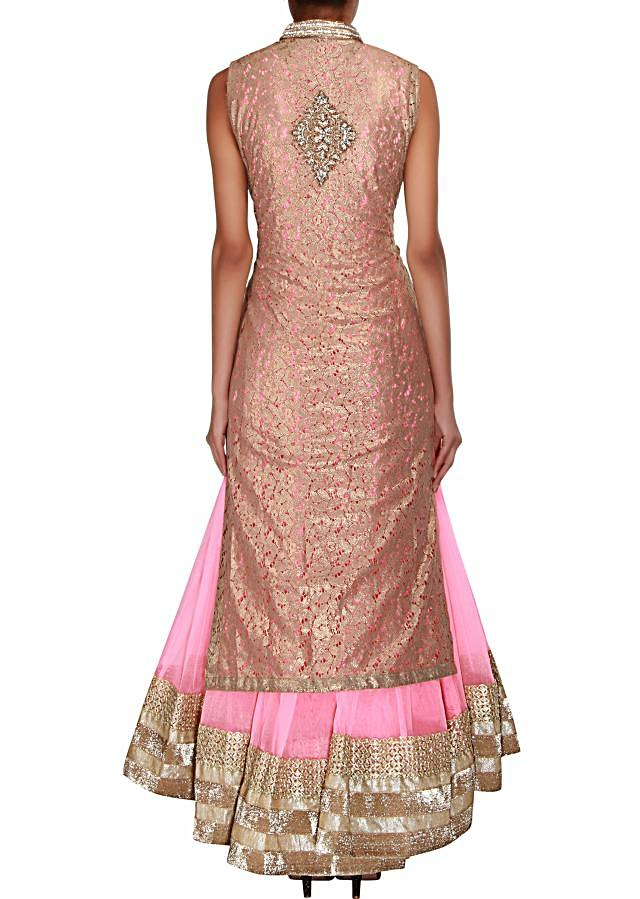 Pink jacket anarkali embellished in zardosi and stone only on Kalki