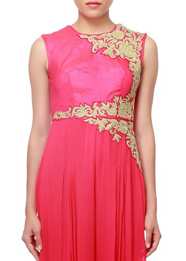 Pink jumpsuit embellished in patch embroidery only on Kalki