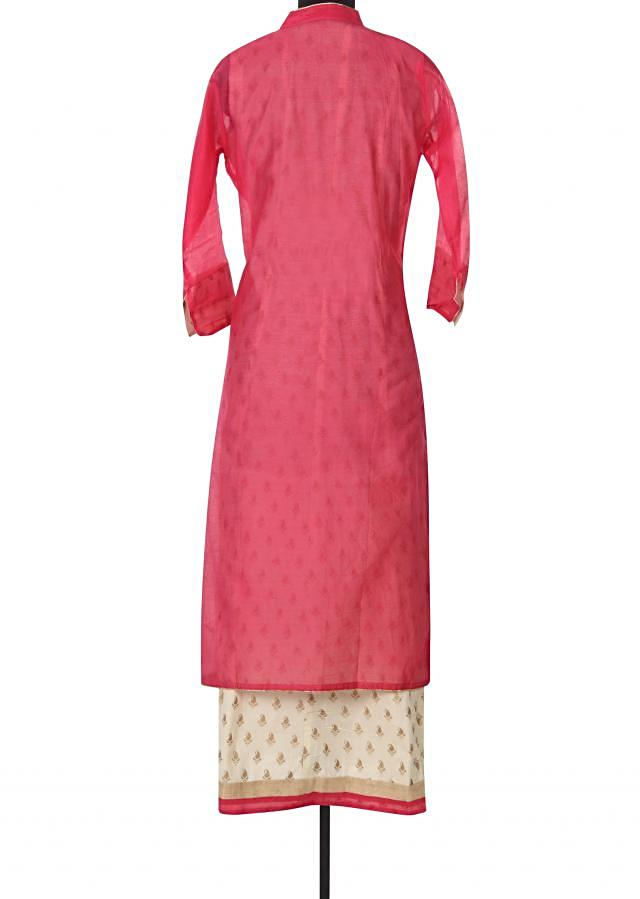 Pink kurti adorn in gotta patch embroidery only on Kalki