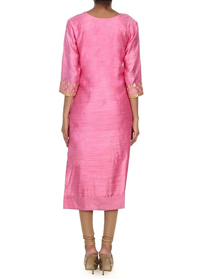 Pink kurti adorn in gotta patch work at yoke only on Kalki