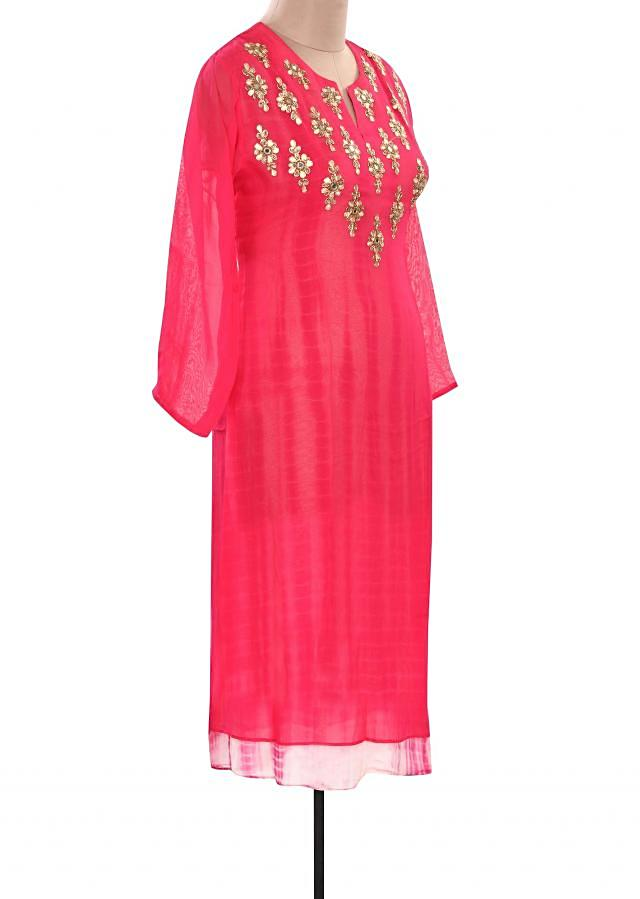Pink kurti embellished in embroidered butti only on Kalki