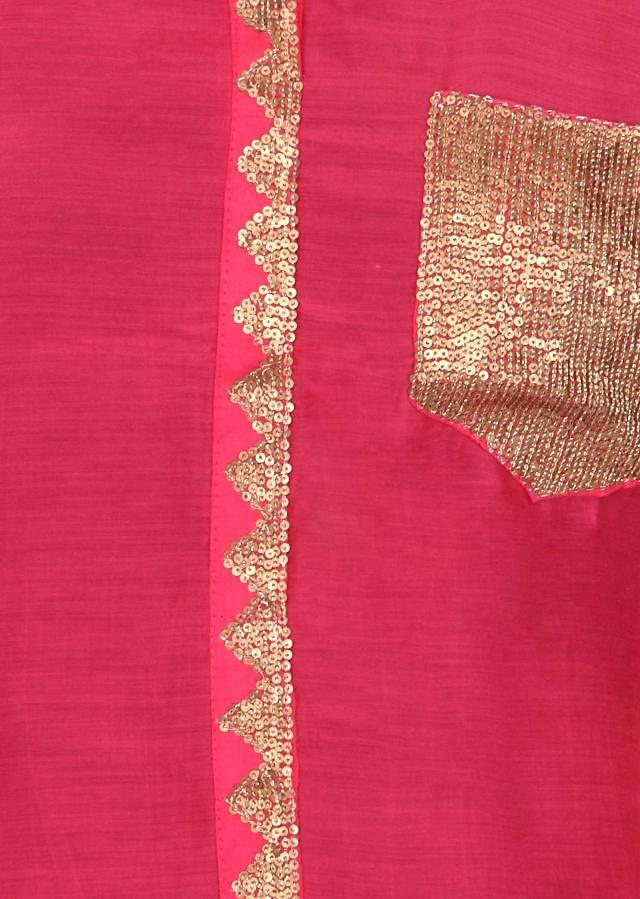 Pink kurti enhanced in sequin embroidery only on Kalki