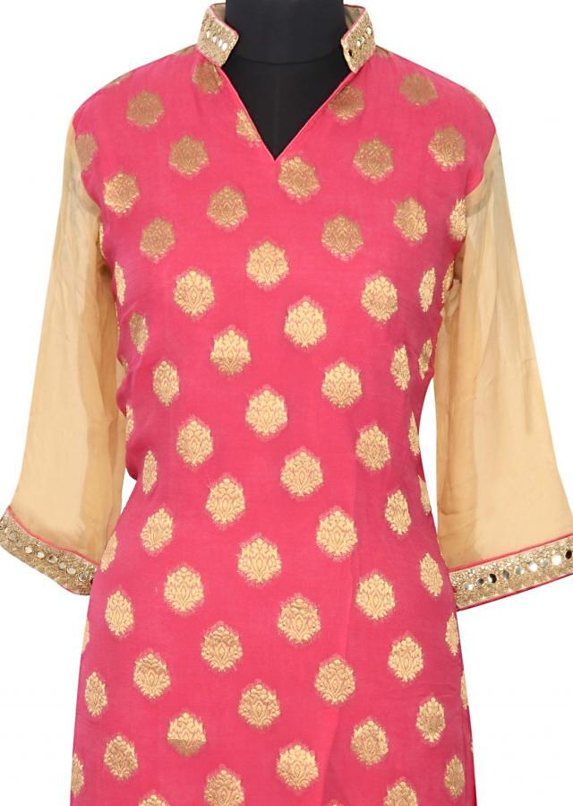 Pink kurti featuring with embroidered collar only on Kalki