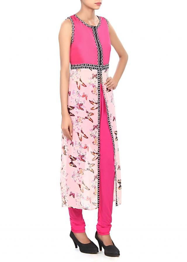 Pink kurti with butterfly print only on Kalki