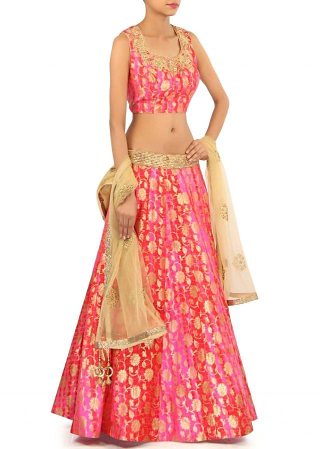 Pink lehenga in brocade with zardosi embroidery only on Kalki