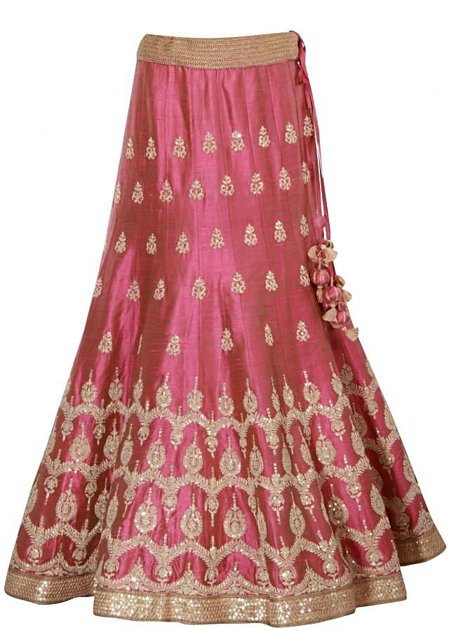 Pink lehenga adorn I zari and sequin embroidery only on Kalki