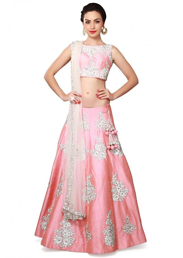 Pink lehenga adorn in stone and kundan butti only on Kalki