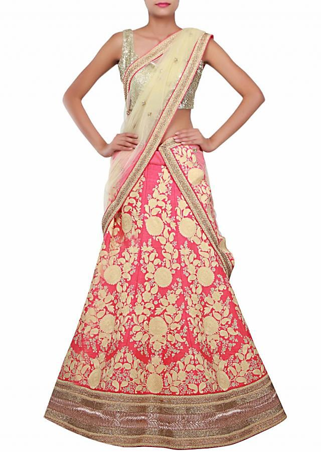 Pink lehenga adorn in thread and zari embroidery in paisley motif only on Kalki