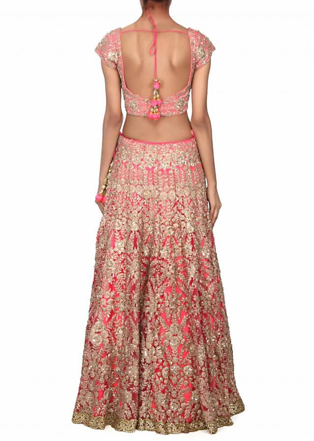 Pink lehenga adorn in zari and kundan embroidery only on Kalki