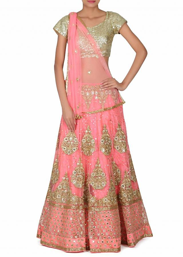 Pink lehenga adorn in zari and mirror only on Kalki